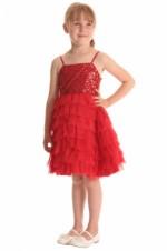 Meisjes feestjurk rood met pailletjes en organza